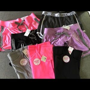 Lot of NWT Justice Shorts/Tanks